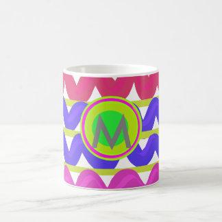 Cute Colorpop chevron zigzag monogram Classic Mug