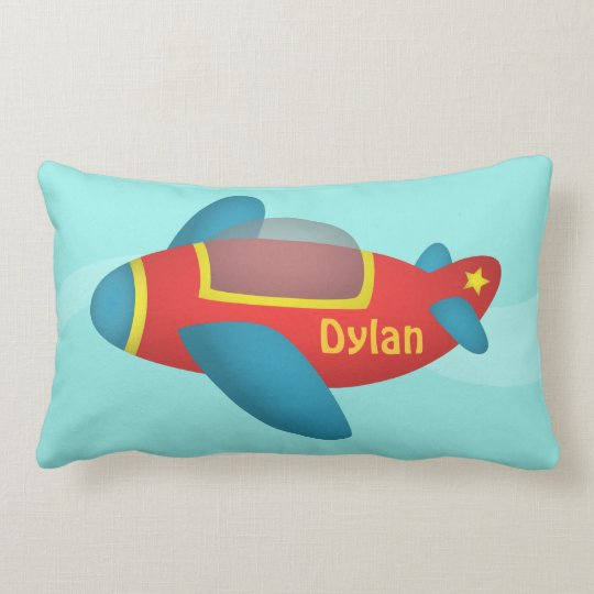 Cute Colourful Aeroplane Jet for Kids Lumbar Pillow