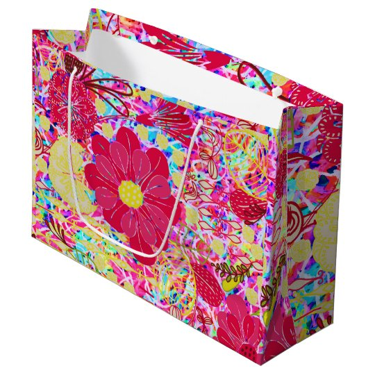 Cute colourful bright flowers large gift bag