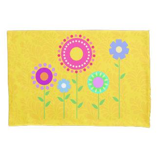 Cute colourful cartoon flower pillowcase cover