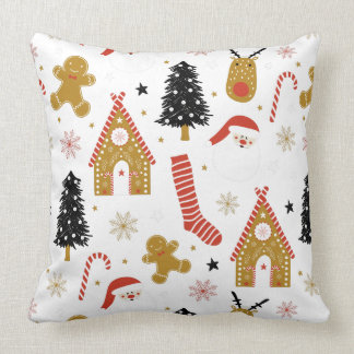 Cute Colourful Christmas Symbols Patterne Throw Pillow
