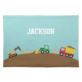 Cute Colourful Construction Vehicles For Boys Place Mats