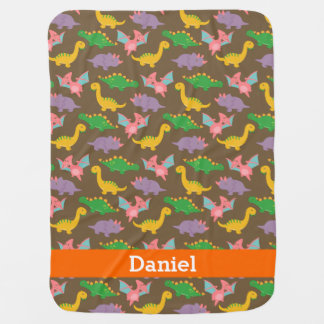 Cute Colourful Dinosaur Pattern for Babies Swaddle Blanket