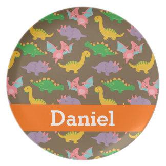Cute Colourful Dinosaur Pattern for Kids Dinner Plates