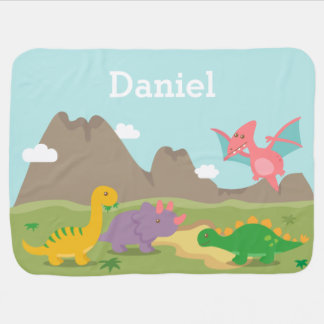 Cute Colourful Dinosaurs For Baby Boys Stroller Blankets
