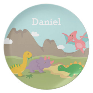 Cute Colourful Dinosaurs For kids Party Plates