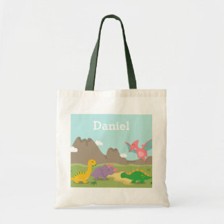 Cute Colourful Dinosaurs Kids Tote Bag