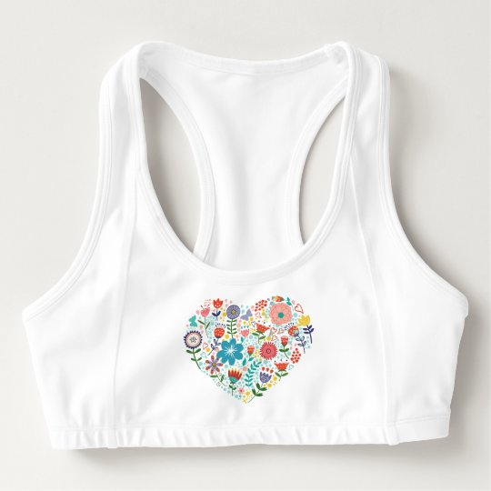 Cute Colourful Floral Heart Illustration Sports Bra