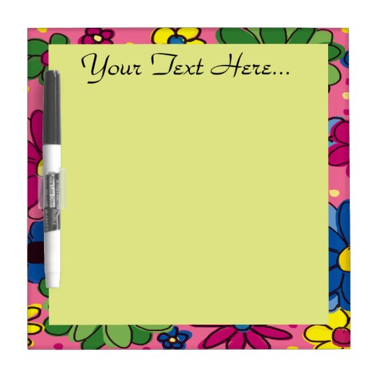 Cute Colourful Flowers on Pink Dry Erase Board