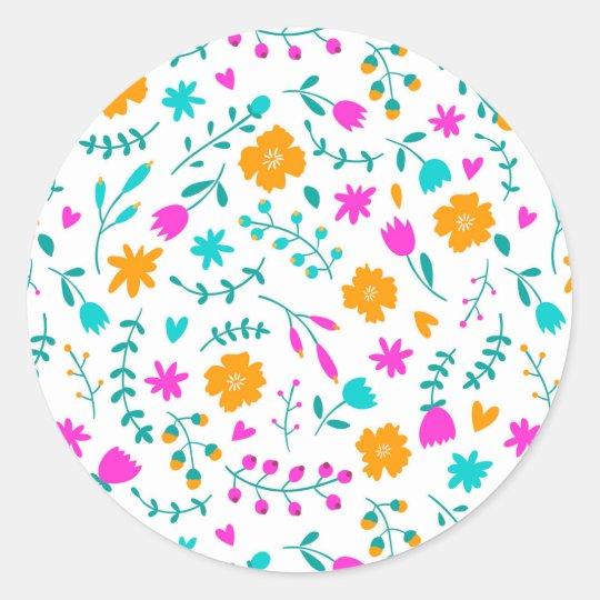 Cute colourful flowers pattern classic round sticker