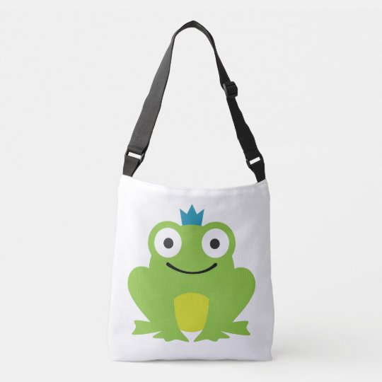 Cute, colourful frog with blue crown design crossbody bag