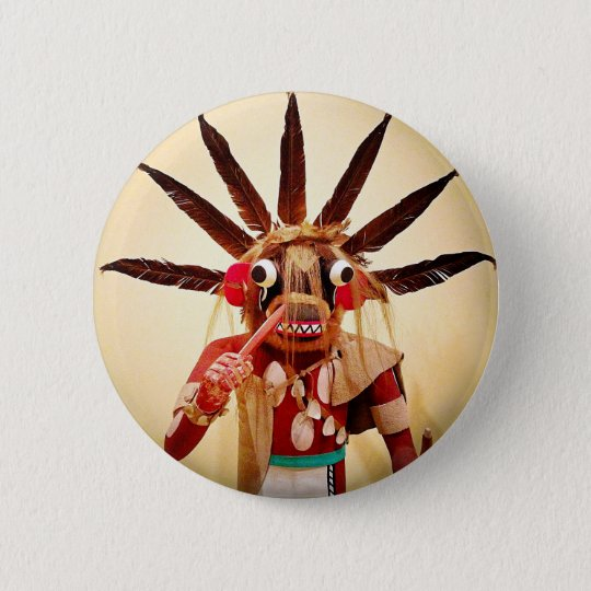 Cute, colourful funny wood figure face photo 2 inch round button