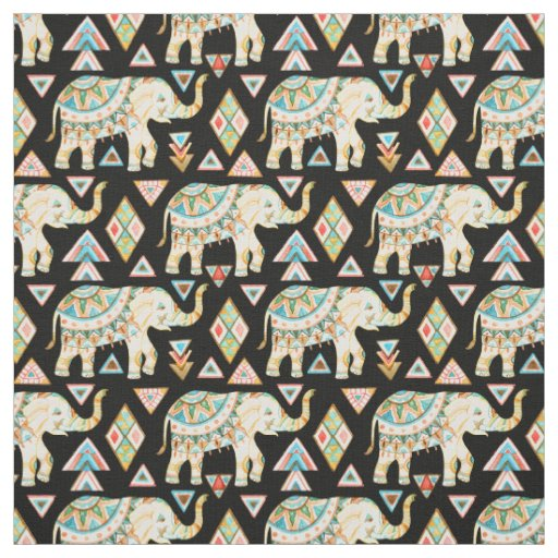 Cute colourful indian elephants pattern fabric