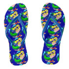 Cute Colourful Mermaid Dreams Blue Flip Flops