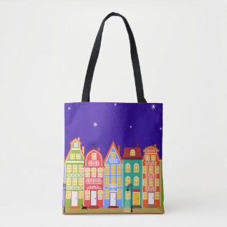 Cute Colourful Old Town Night Walking Cat Bag