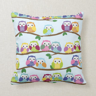 Cute Colourful Owl Branch Pattern Throw Pillow