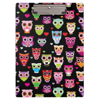 cute colourful owl kids pattern clipboard