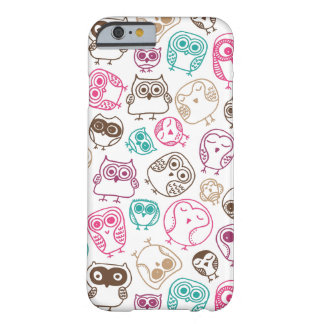 Cute colourful owl pattern in pink and blue barely there iPhone 6 case