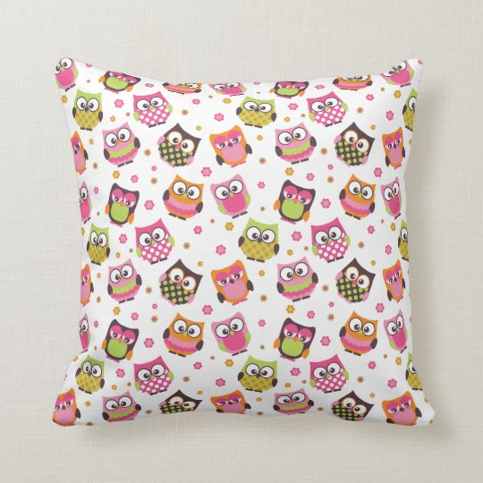 Cute Colourful Owls Pillow (White)