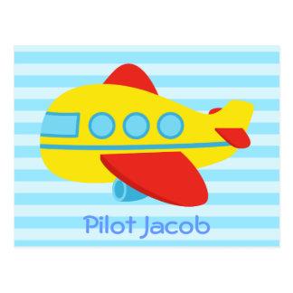 Cute, Colourful Passenger Plane for Little Pilot Postcard