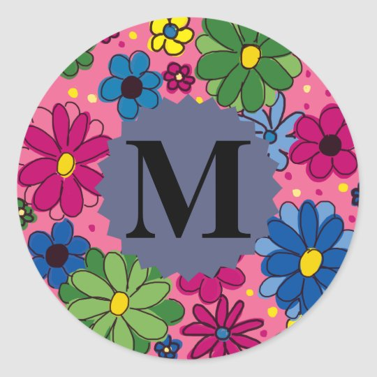 Cute Colourful Pink Floral Monogram Sticker