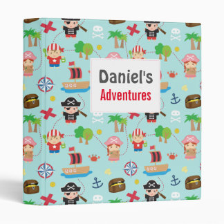 Cute Colourful Pirate Treasure Pattern For Kids Binder