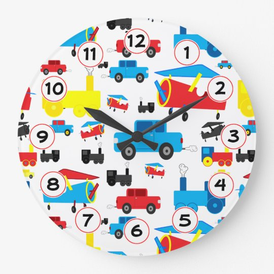 Cute Colourful Planes, Trains and Cars Collage Large Clock