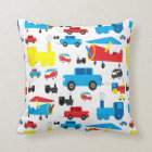Cute Colourful Planes, Trains and Cars Collage Throw Pillow