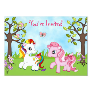 Cute Colourful Ponies Girls Horse Birthday Invite
