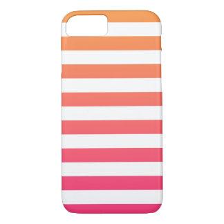 Cute Colourful Preppy Orange Pink White Stripes Case-Mate iPhone Case