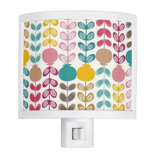Cute Colourful Retro Tulips Night Lite