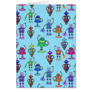 Cute colourful robots on blue background card