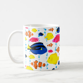 Cute Colourful Tropical Fish and Bubbles Coffee Mug