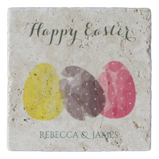 CUTE COLOURFUL WATERCOLOR EASTER EGGS MONOGRAM TRIVET