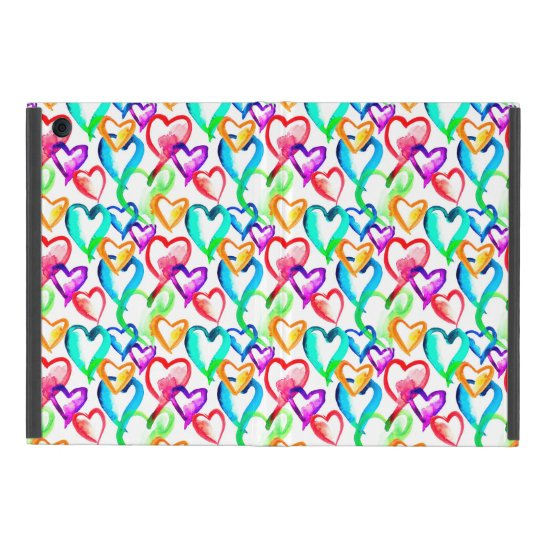 Cute colourful watercolor hearts pattern covers for iPad mini