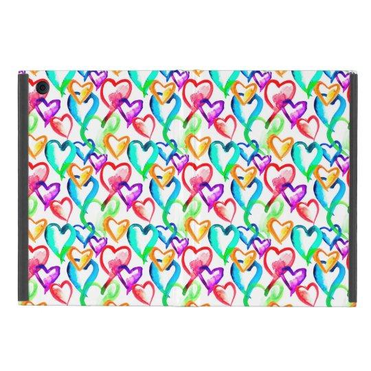 Cute colourful watercolor hearts pattern iPad mini cover
