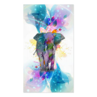 cute colourful watercolours splatters elephant business card template