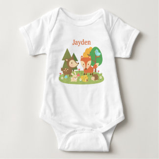 Cute Colourful Woodland Animal For Babies Baby Bodysuit