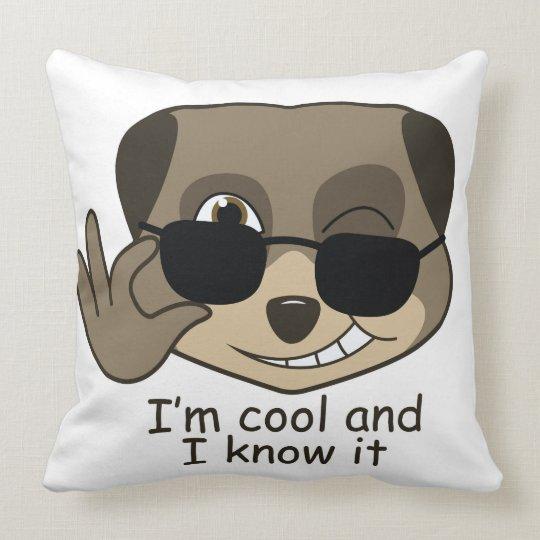 Cute, comic meerkat design throw pillow