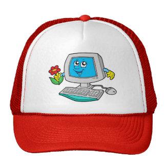 Cute computer with flower trucker hat