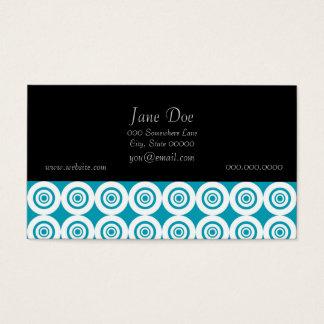 Cute Concentric Circles Pattern Aqua White Business Card