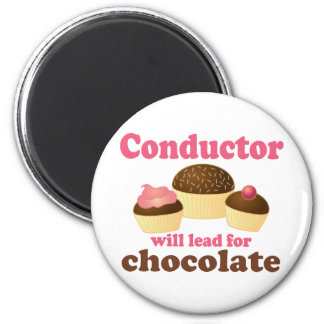 Cute Conductor Will Lead for Chocolate 2 Inch Round Magnet