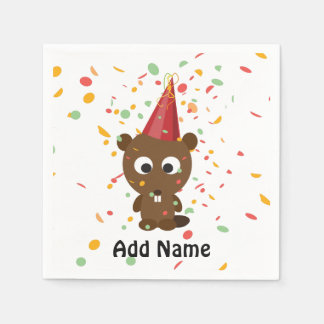Cute Confetti Party Beaver Disposable Napkins
