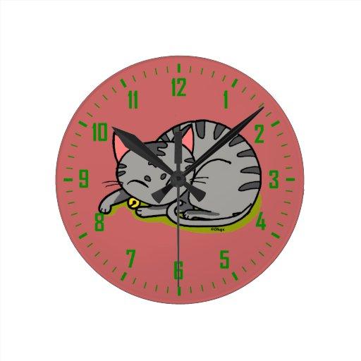 Cute congregation cat sleeping wall clock