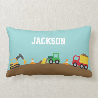 Cute Construction Vehicles Boys Room Decor Lumbar Pillow