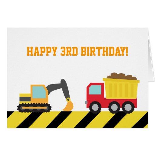 Cute Construction Vehicles for Birthday Boy Card