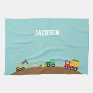 Cute Construction Vehicles For Boys Kitchen Towel