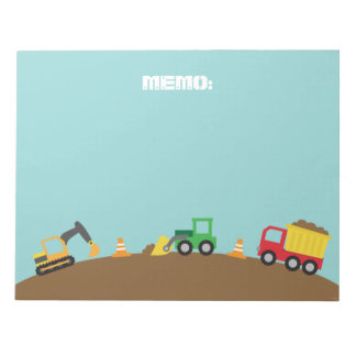 Cute Construction Vehicles For Boys Notepad