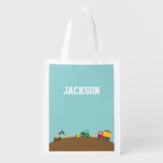 Cute Construction Vehicles For Boys Reusable Grocery Bags