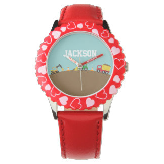 Cute Construction Vehicles For Boys Wristwatches